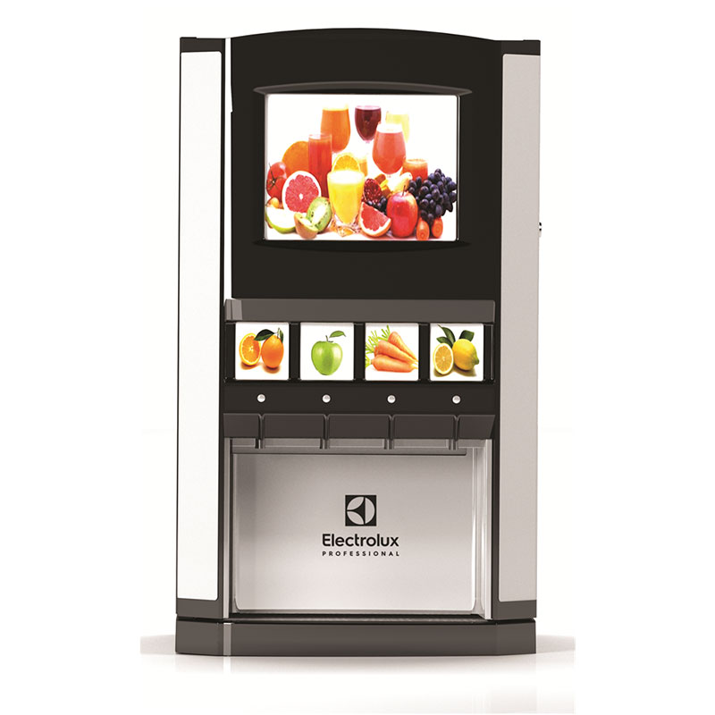 Chilled juice dispenser with 4x3L flavour dispensers
