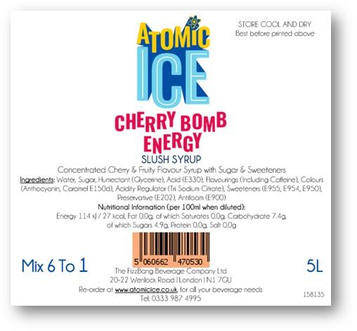 Bottle Atomic Ice Cherry Energy