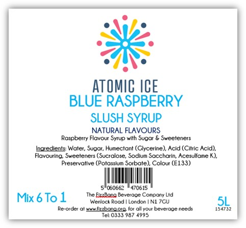 Bottle Label Atomic Ice Blue Raspberry