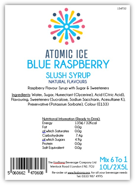 Box Label Atomic Ice Blue Raspberry