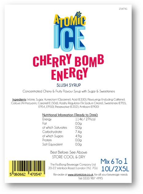 Box Label Atomic Ice Cherry Energy