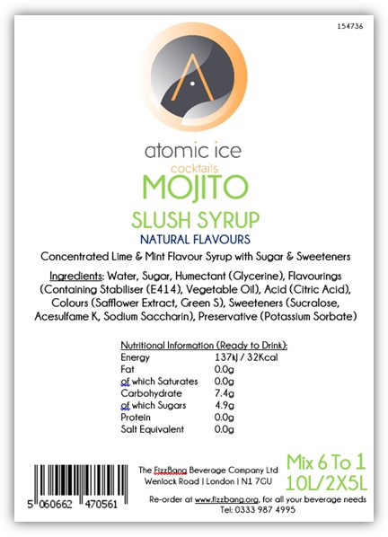 Box Label Atomic Ice Cocktail Mojito