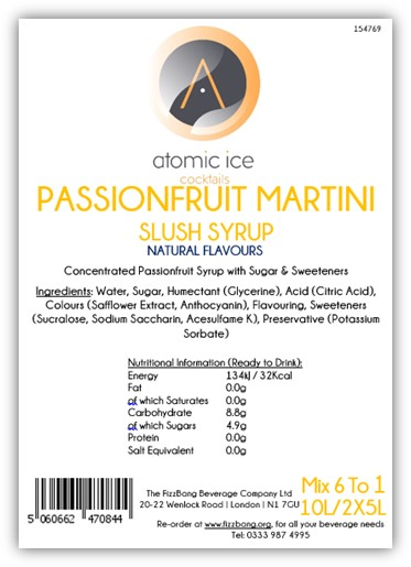 Box Label Atomic Ice Cocktail Passionfruit Martini