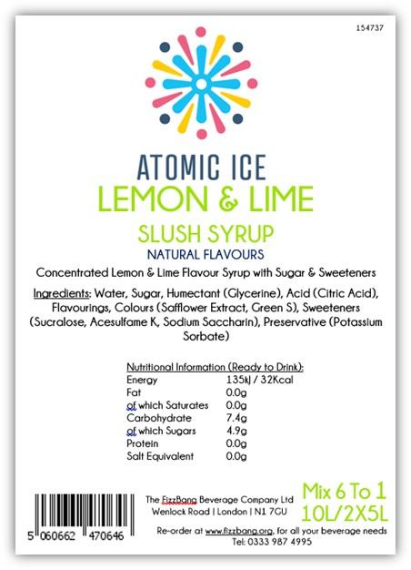 Box Label Atomic Ice Lemon and Lime