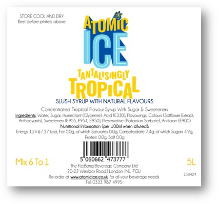 Bottle Label Atomic Ice Tropical